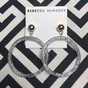 •Rebecca Minkoff• stud and silver glitter hoops